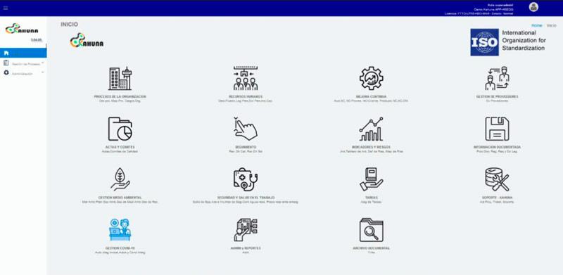 Pantalla de Kahuna APP para administrar normas con software ISO